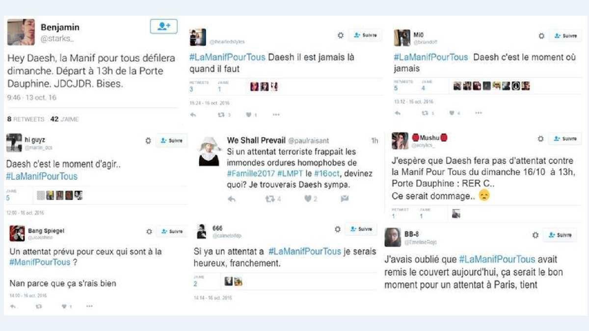Menaces de mort contre la Manif Pour Tous (source : Twitter)