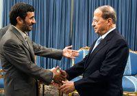 Mahmoud Ahmadinejad et le général Aoun