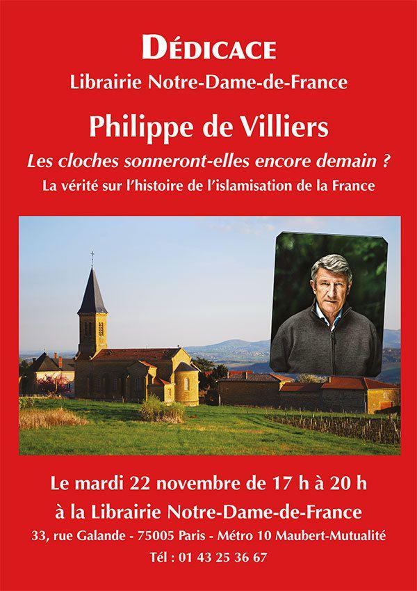 Philippe de Villiers à la librairie Notre-Dame-de-France pour dédicacer son nouveau livre &quot&#x3B;Les cloches sonneront-elles encore demain ?&quot&#x3B;, le 22 Novembre 2016