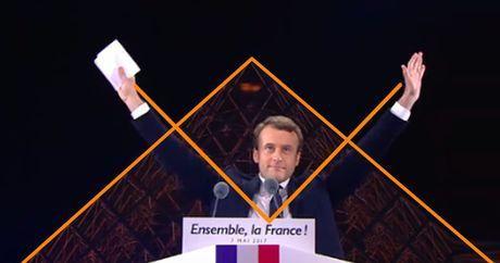 Emmanuel Macron, les bras en équerre devans la pyramide