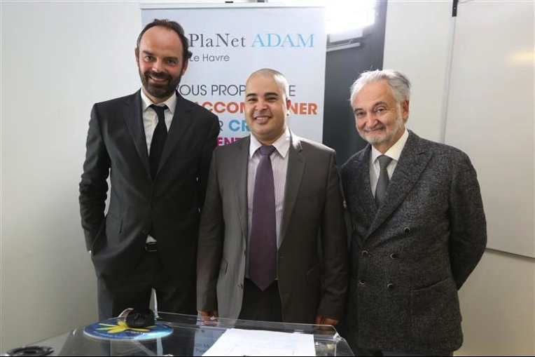 Edouard Philippe et Jacques Attali au Positive Economy Forum (fondé par Jacques Attali), en 2014