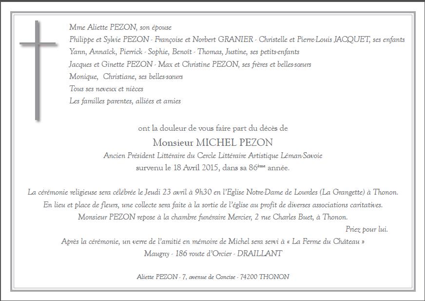 DECES DU T.'.V.'.F.'. MICHEL PEZON.