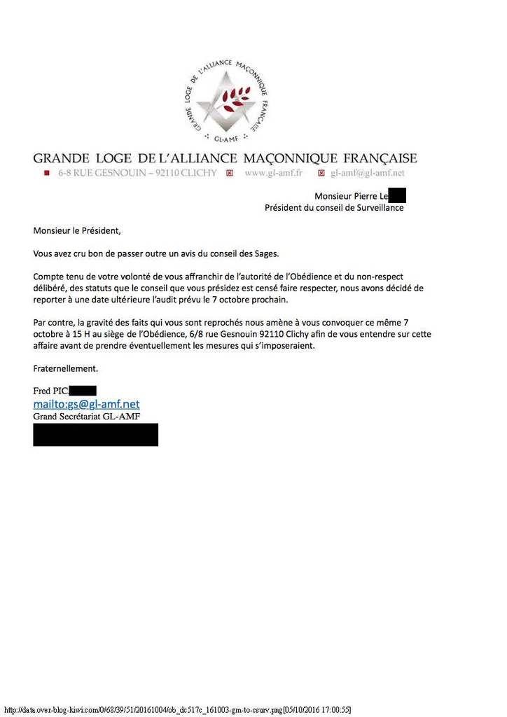 Lettre adressée par le Gr Secrétaire de la GLAMF, Fred Pic. au Pdt du Conseil de Surveillance de cette obédience. (Document publié par le Myosotis Occitan.