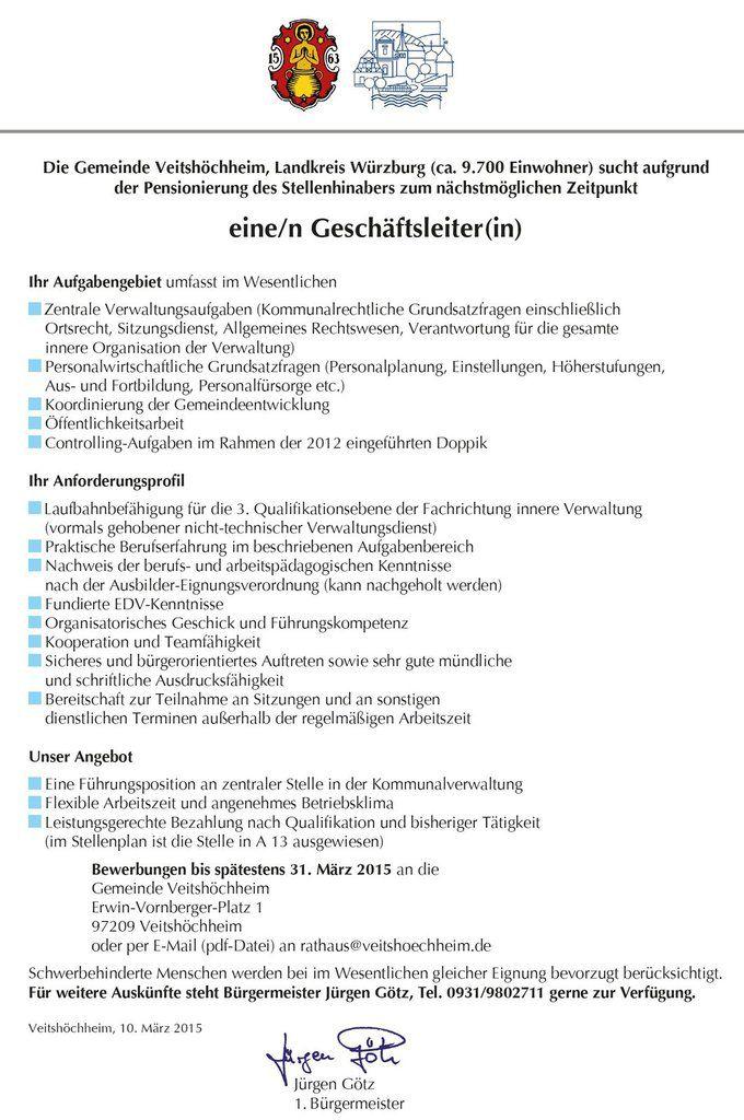 Neuausschreibung Geschäftsleiter/in Gemeinde Veitshöchheim