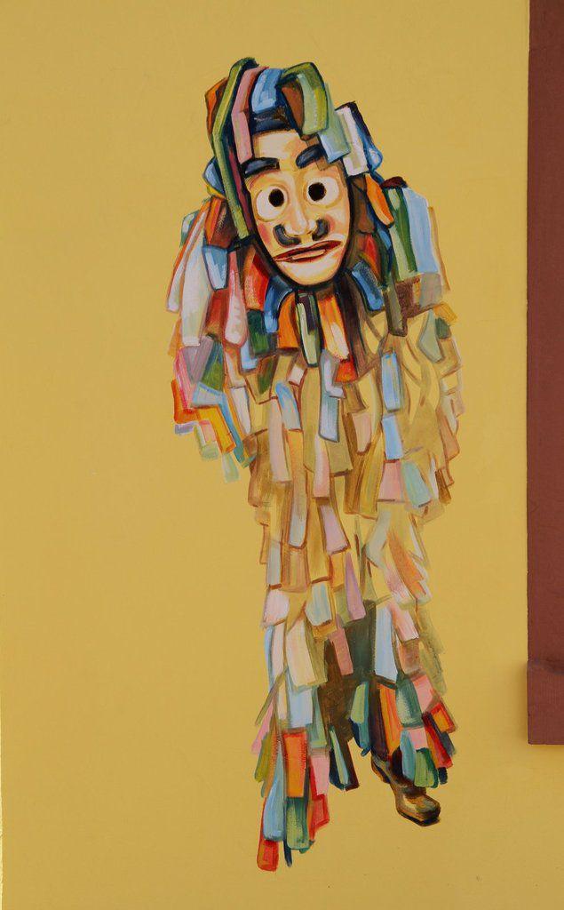 Zu sehen sind am Fastnachtshaus auch weitere Wahrzeichen der Fernsehsitzung, wie die Allersberger Flecklashexen, ein Detail des Bühnenbildes und Faschingsnarren.