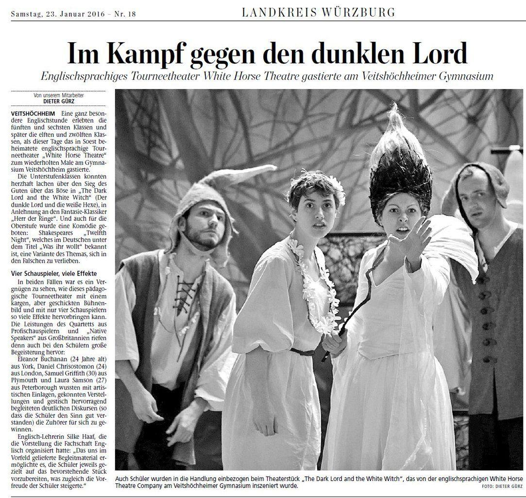 Englischsprachiges Tourneetheater White Horse Theatre gastierte am Veitshöchheimer Gymnasium