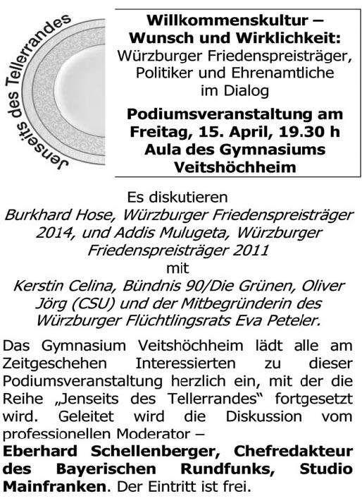 """Gymnasium Veitshöchheim lädt am 15. April ein zur Podiumsdiskussion """"Willkommenskultur"""