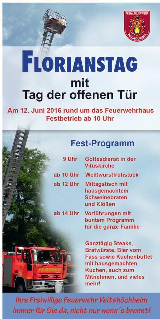 Veitshöchheimer Feuerwehr lädt ein zum Florianstag am 12. Juni mit Festbetrieb und Vorführungen