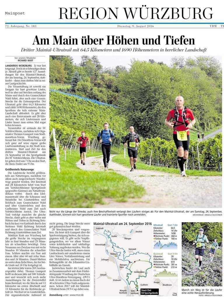 Sportverein Veitshöchheim veranstaltet 3. Maintal-Ultra-Trail (MTUT) am 24. September 2016