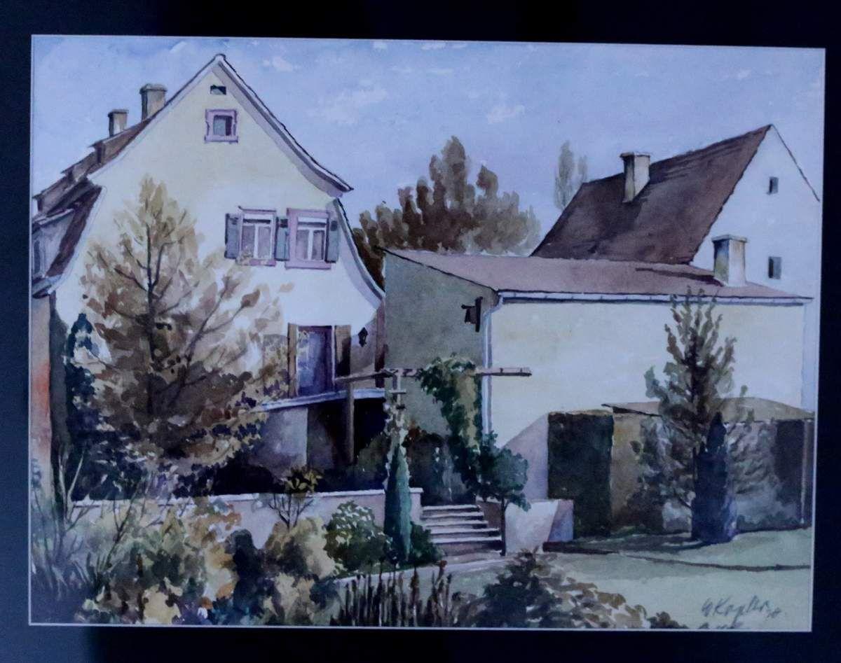 Koplers Wohnhaus Würzburger Straße 4, von ihm mit Blick vom Koppesland aus gezeichnet