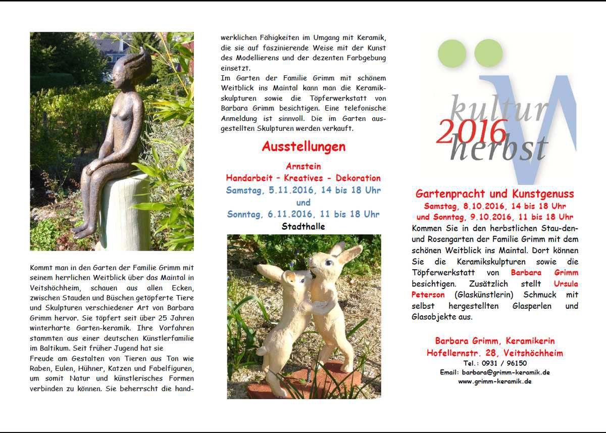 Die Veitshöchheimer Keramik-Künstlerinnen Barbara Grimm und Utta Will laden am 8./9. Oktober herzlich ein zu ihren Ausstellungen im Rahmen des Landkreis-Kulturherbstes 2016
