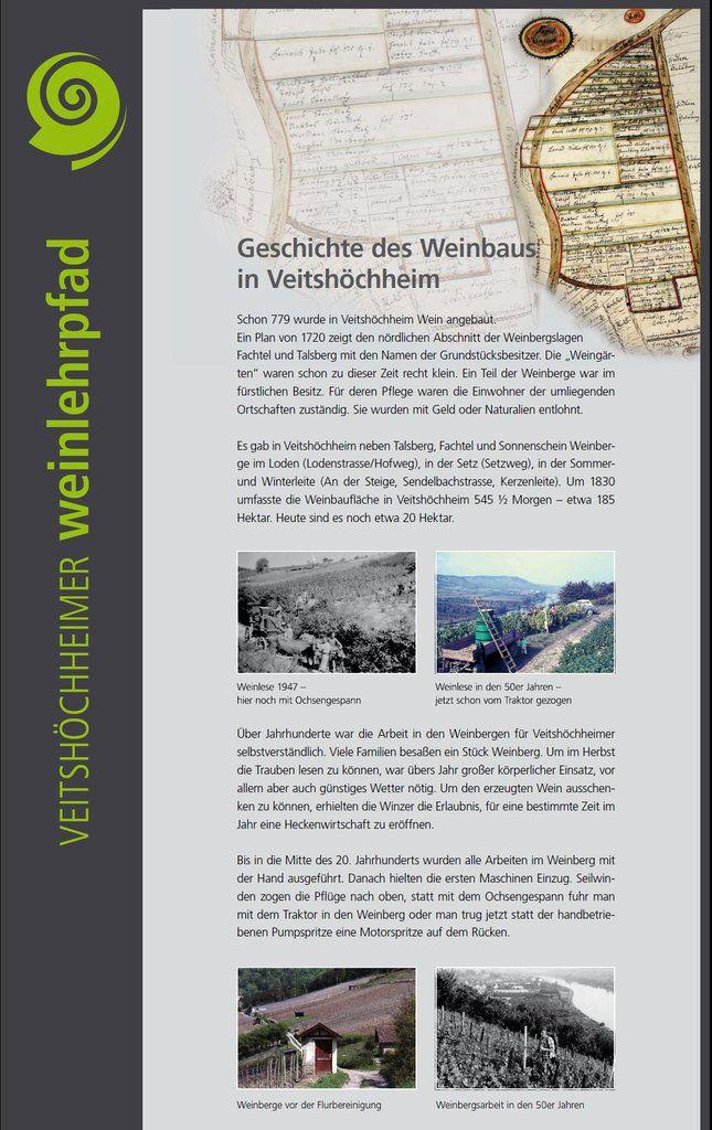 Edelmann selbst hat auf Tafel 2  die Geschichte des Weinbaus dokumentiert, dass schon 779 im Ort Wein angebaut wurde. Als Abgabestelle für den Wein, der an den Würzburger Fürstbischof als Landesherr der Veitshöchheimer abzuführen war, errichtete dieser 1683 die fürstbischöfliche Kellerei in der Herrnstraße. Deren Keller wird auch heute noch von der LWG für repräsentative Weinproben genutzt. Um 1830 umfasste die Weinbergsfläche in Veitshöchheim noch 185 Hektar. Ab Mitte des 20. Jahrhunderts wurden nur noch die Lagen Talberg, Fachtel und Sonnenschein bebaut. Heute sind es nur noch 20.