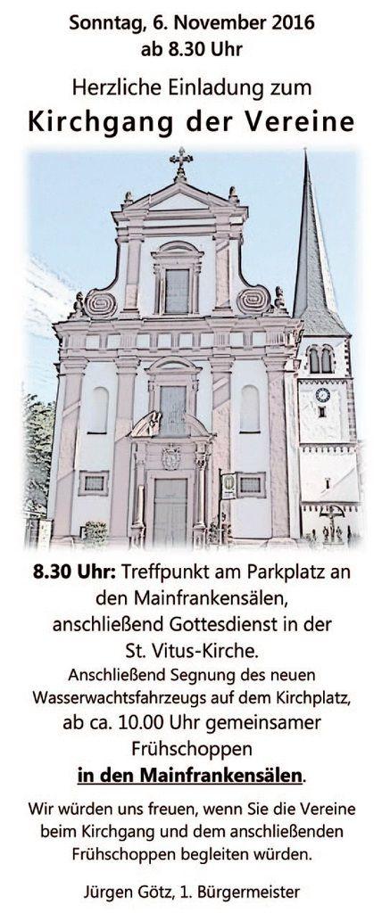 Gemeinde Veitshöchheim lädt zum Kirchgang der Vereine und zum Frühschoppen in den Mainfrankensälen am  6. November ein