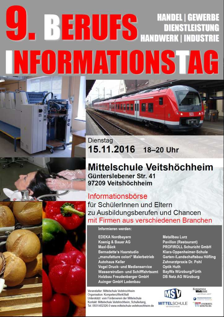 Traditioneller Berufsinformationstag BIT der Mittelschule Veitshöchheim am 15. November