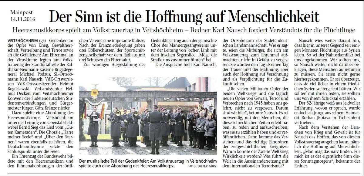 Bewegende Veitshöchheimer Gedenkfeier am Volkstrauertag