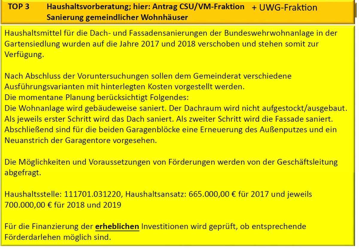 Gemeinderat berät am 17. Januar 2017 über wichtige Projekte - Teil 4 - Anträge der Fraktionen: Sanierung Bundeswehrwohnanlage 1.365.000 Euro eingeplant