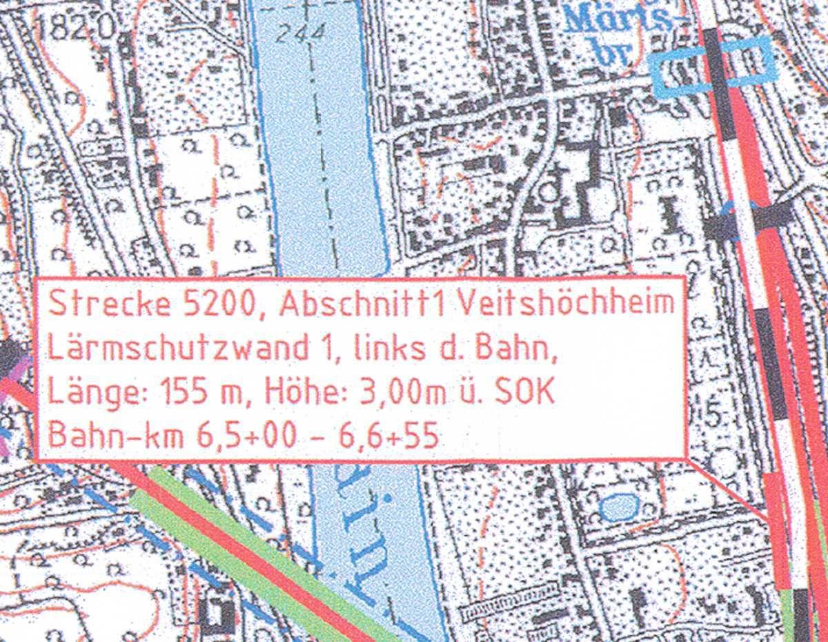 Wand Nr. 1 links (westich) der Bahnlinie: Echterstraße/Am Hofgarten 115 m - Fortführung der in Höhe des Altenheims bestehenden Wand bis in Höhe des Schneckenhauses im Hofgarten