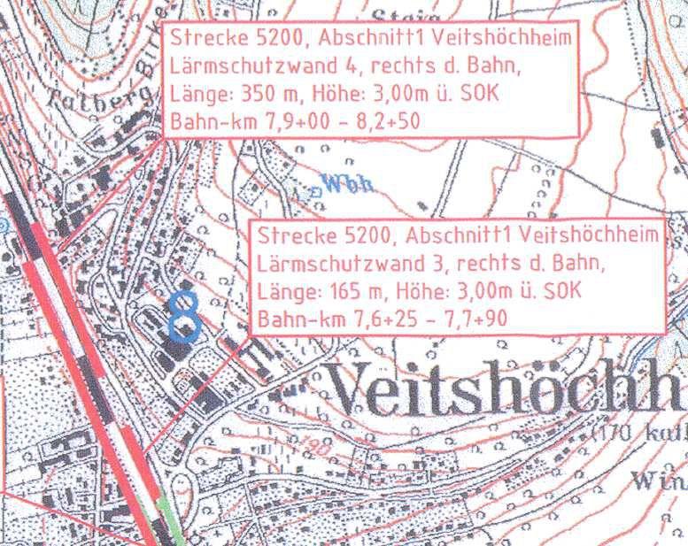 rechts (östlich) der Bahnlinie Wand Nr. 3  Vorderer Sendelbach  165 m und Wand Nr. 4  Birkental 350 m