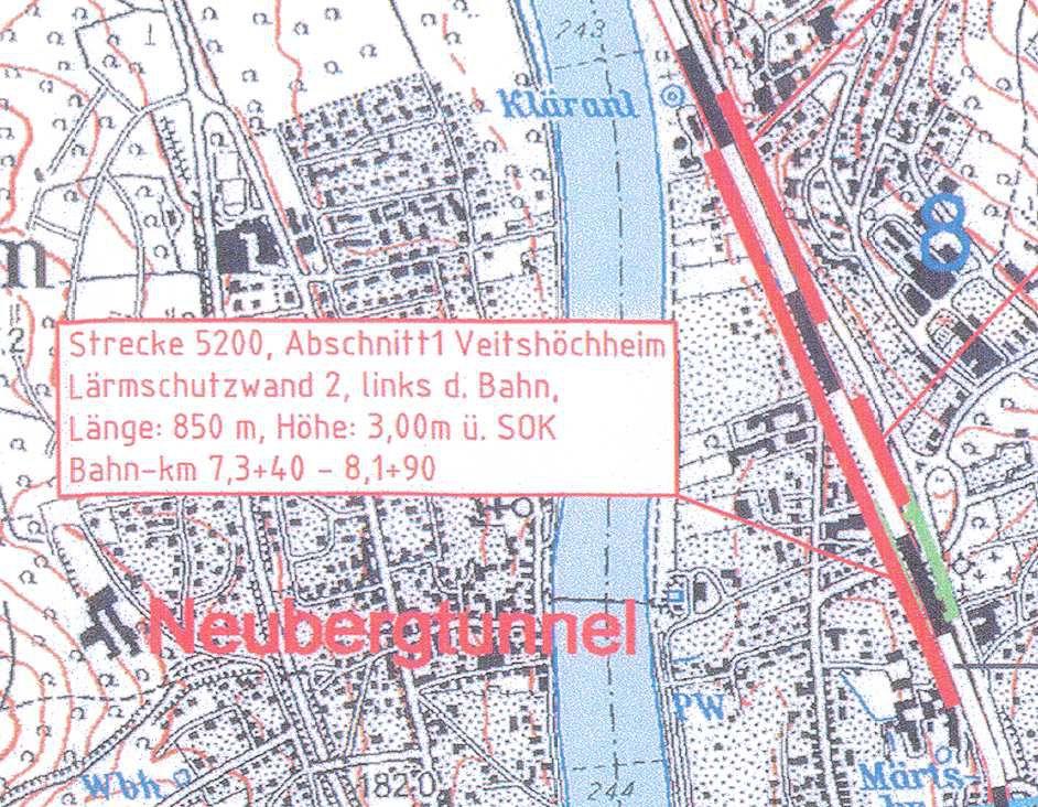 Wand Nr. 2 links (westlich) der Bahnlinie: Herrnstraße/Thüngersheimer Straße 850 m
