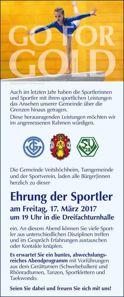 Einladung zur Veitshöchheimer Sportlerehrung am 17. März 2017 mit attraktivem Rahmenprogramm