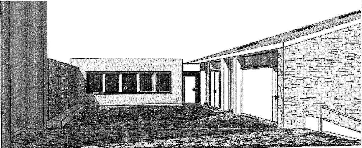 Der Vorplatz am Kircheneingang erhält im rückwärtigen Bereich einen erdgeschossigen Anbau, in dem auf 60 Quadratmeter Pfarrbüro, Sekretariat, Registratur und WC Platz finden.