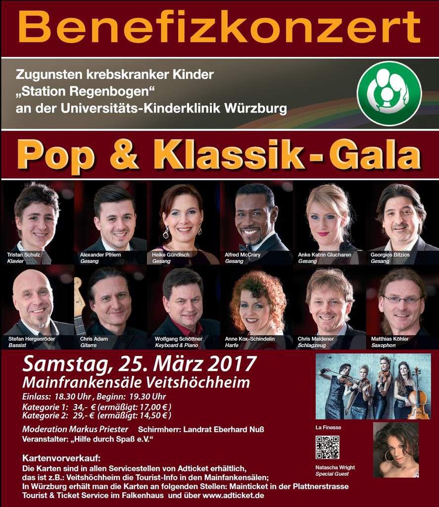Pop- und Klassikgala am Samstag, 25. März 2017 in den Veitshöchheimer Mainfrankensälen zugunsten der Station Regenbogen der Uniklinik