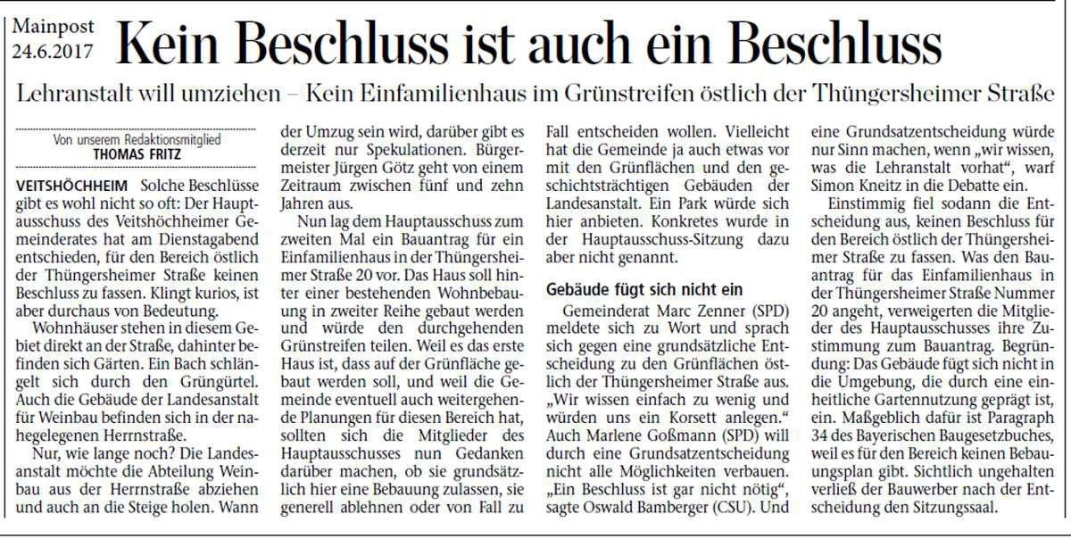Gemeinde tritt Nachverdichtung im Bereich östlich der Thüngersheimer Straße nicht näher - Wohnhausneubau in zweiter Reihe abgelehnt