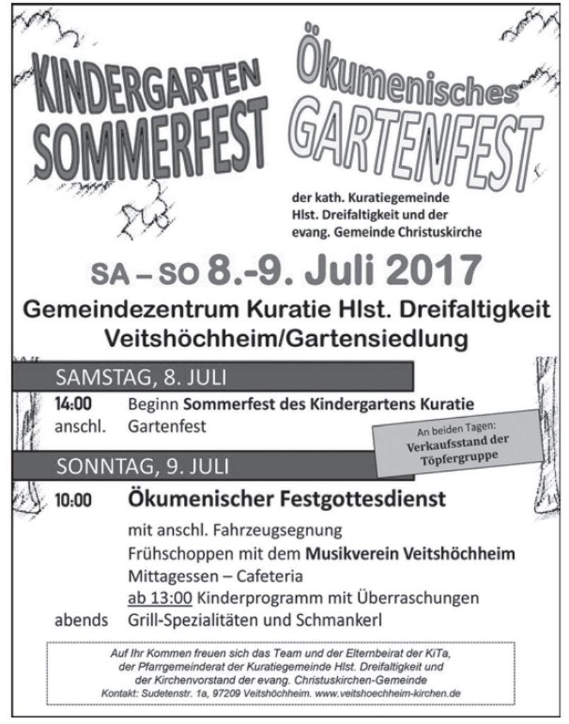 Kindergarten- und Sommerfest der Kuratie-Pfarrgemeinde am 8. und 9. Juli 2017