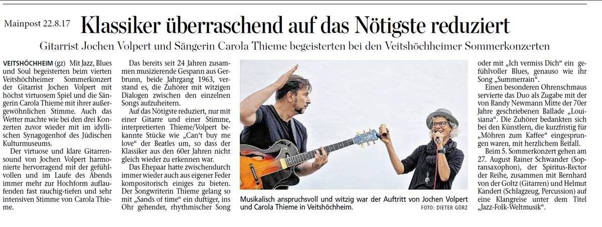 Hohes Niveau der 10. Sommerkonzertreihe der Gemeinde Veitshöchheim zog über 500 Besucher an
