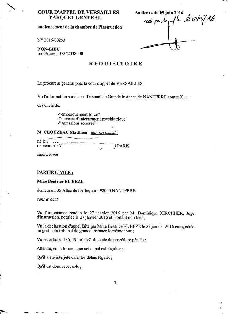 Réquisitoires 2016 Procureur Général (plaintes contre Police et B. MADEUF) et mes Réponses IMPARABLES !