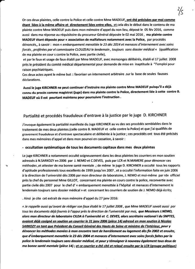 Ma requête pour Récusation du juge Dominique KIRCHNER, vendu à SARKOZY ! / aout 2016/ B.EL BEZE