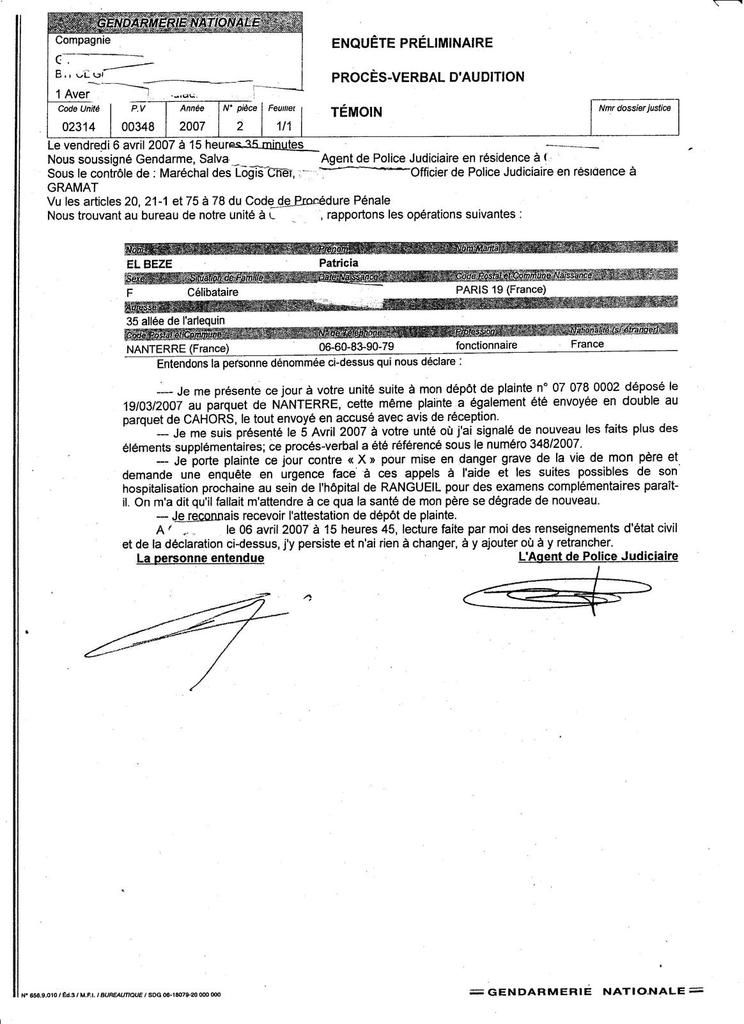 B. EL BEZE /  DOCUMENTS PREUVES DE MON AFFAIRE
