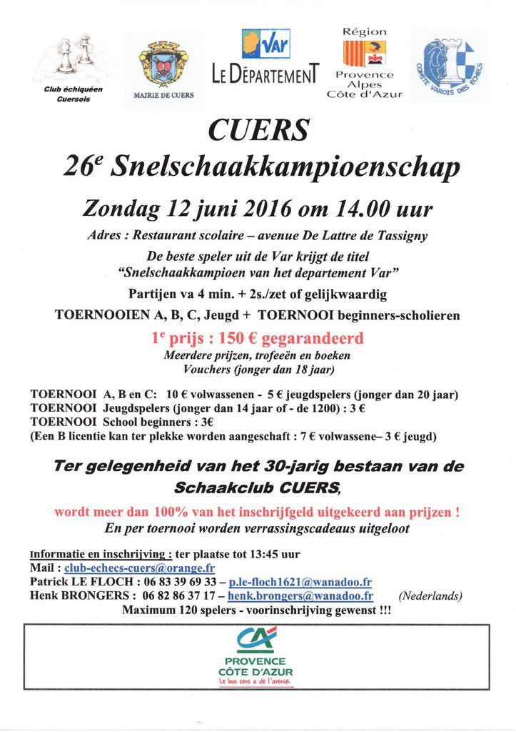 2016 - Blitz de Cuers - Un tournoi international !!!