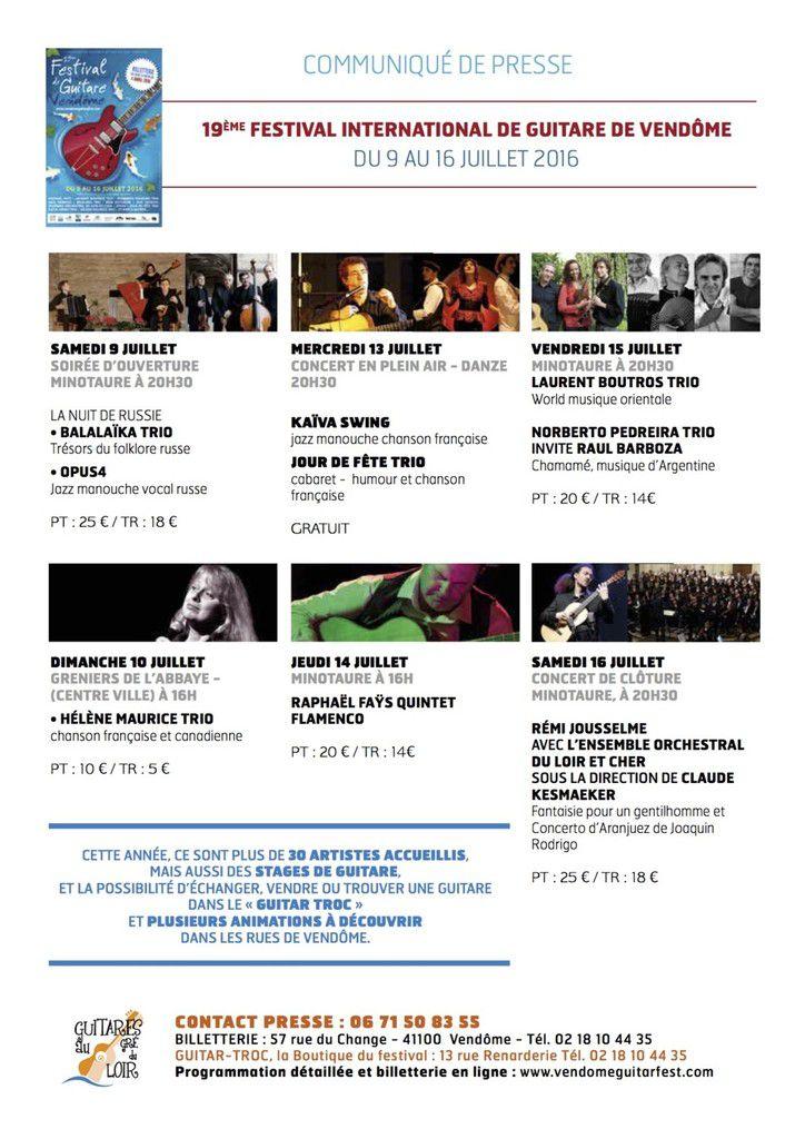 Festival de guitare de Vendôme : Le programme