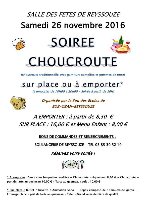 La soirée choucroute du Sou des écoles de Reyssouze arrive en ligne de mire.