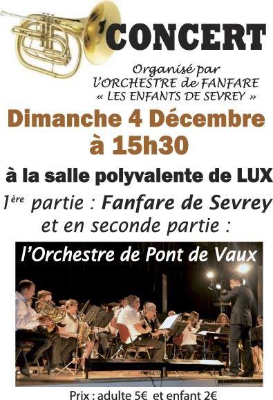 L'orchestre de Pont-de-Vaux en concert dimanche à Lux.