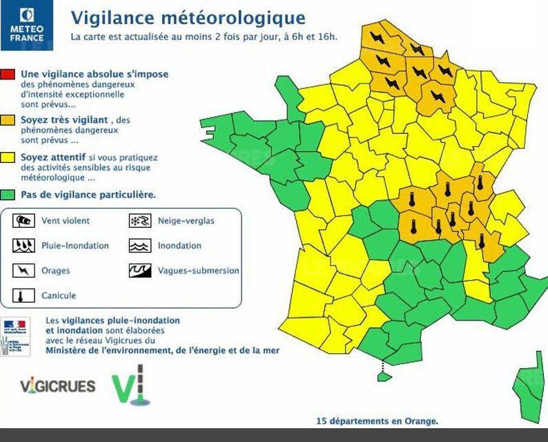 L'Ain et la Saône-et-Loire en alerte orange.