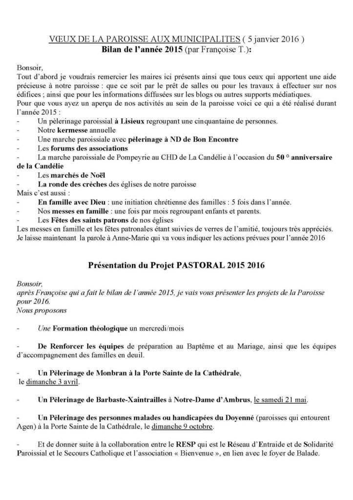 VOEUX DE LA PAROISSE 2016
