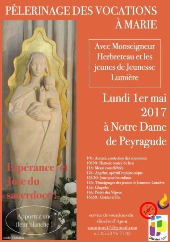 Pèlerinage des Vocations 1°mai2017 à Peyragude