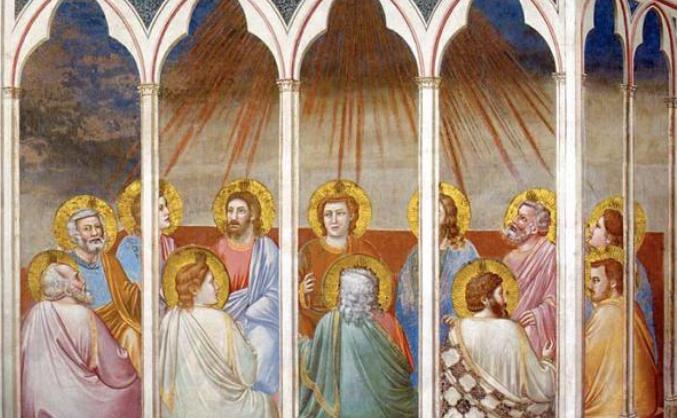 La Pentecôte, détail des fresques de Giotto, chapelle des Scrovegni, Padoue (Italie)