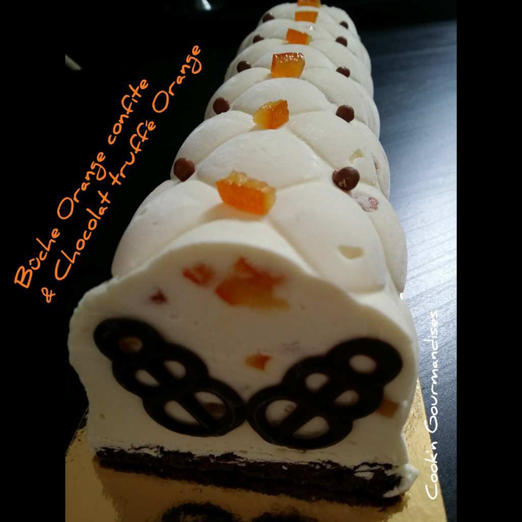Bûche à l'orange confite et chocolat truffé à l'orange