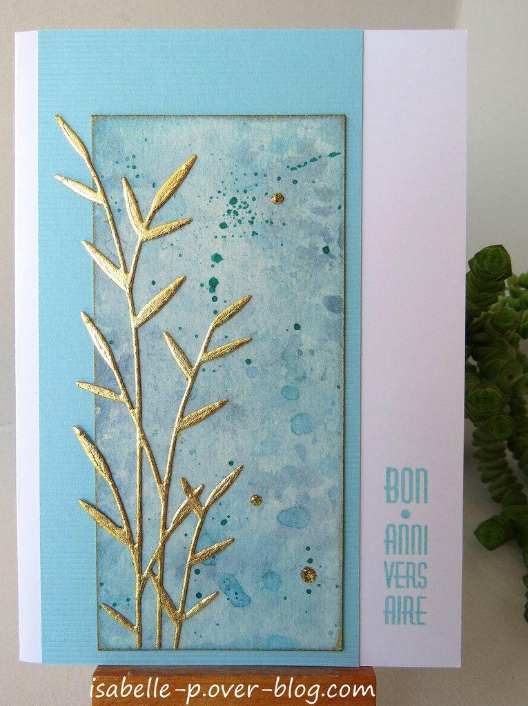 Cartes avec feuilles et copeaux d'or
