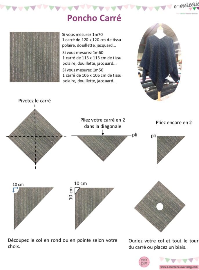 Poncho Carré - Tuto Couture DIY
