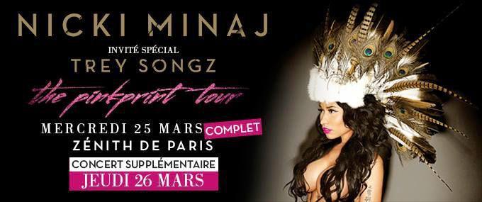 Nicki Minaj en Concert les 25 et 26 Mars au Zénith de Paris, avec Trey Songz en invité spécial