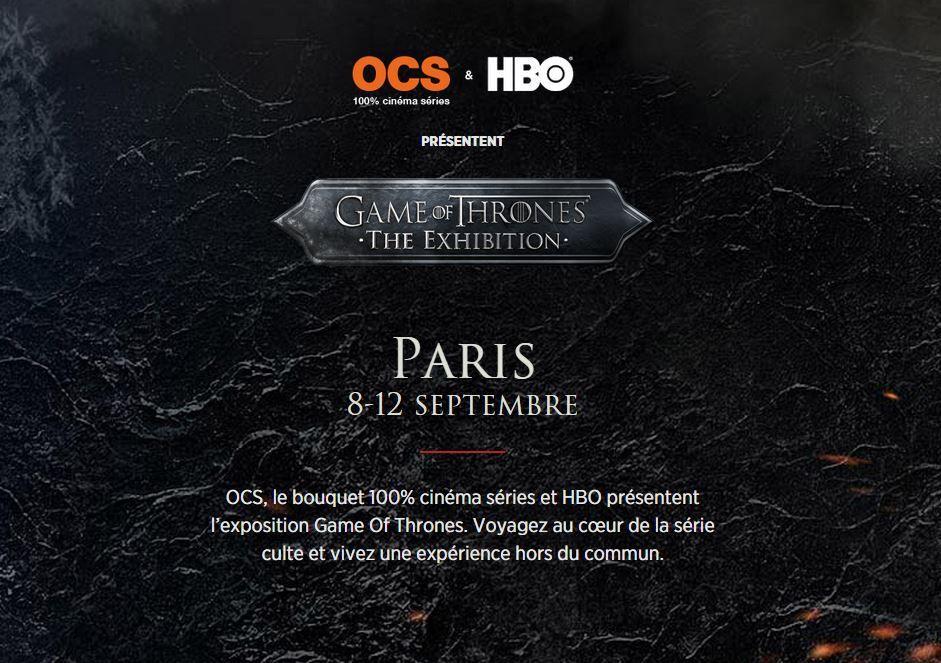 Games Of Thrones - L'Expo à Paris du 8 au 12 Septembre au Carroussel du Louvre