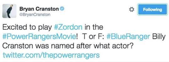 Quand Bryan Cranston annonce sur Twitter qu'il rejoint le casting du film