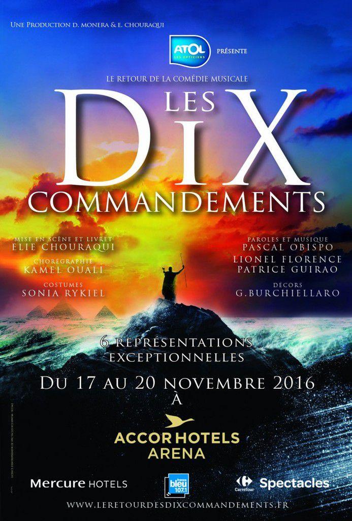 LES DIX COMMANDEMENTS 16 ans après, La comédie musicale revient...du 17 au 20 novembre 2016 à l'AccorHotels Arena en tournée dans toute la France à partir de janvier 2017.