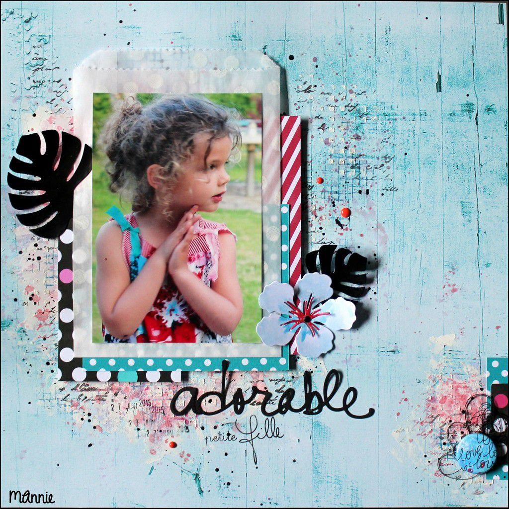 papiers Infocréa, Kési'art : carte PL Simple Stories &#x3B; pochette en glassine SU &#x3B; encres Izink, Versafine &#x3B; pochoir Spray & scrap &#x3B; tampons Artémio, Infocréa, Kaiser Craft &#x3B; découpes Kési'art &#x3B; badge Scrapbuttons &#x3B; dots Freckled Fawn &#x3B; gesso, modeling paste, fil