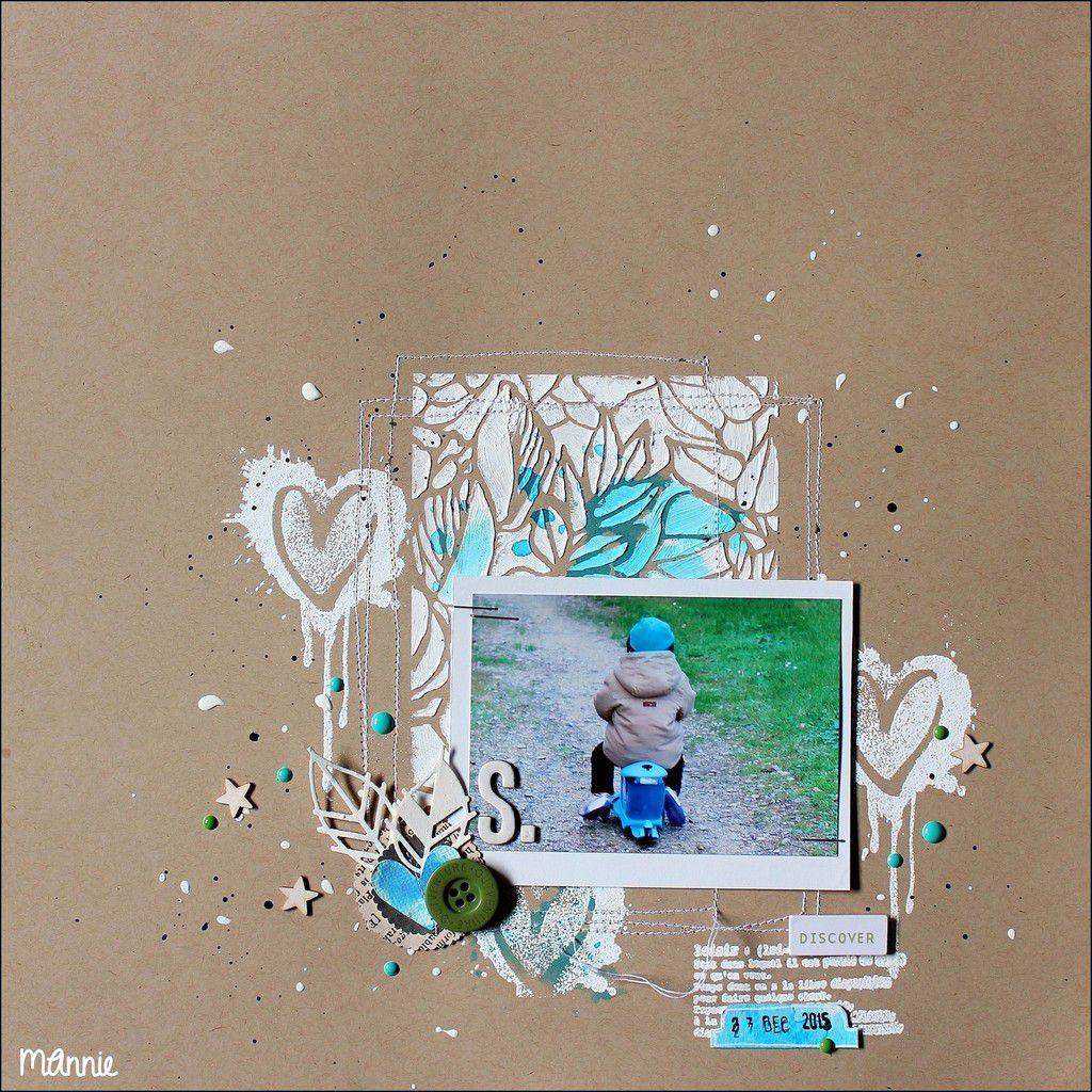 papier  kraft &#x3B; pochoir Carabelle Studio &#x3B; tampons l'Encre et l' Image, Kési'art &#x3B; découpes feuilles SG offertes par Irène &#x3B; brusho turquoise, Izink noire, modeling paste, acrylique blanche &#x3B; poudre  à embosser &#x3B; étoiles en bois, bouton, dots Freckled fawn, couture