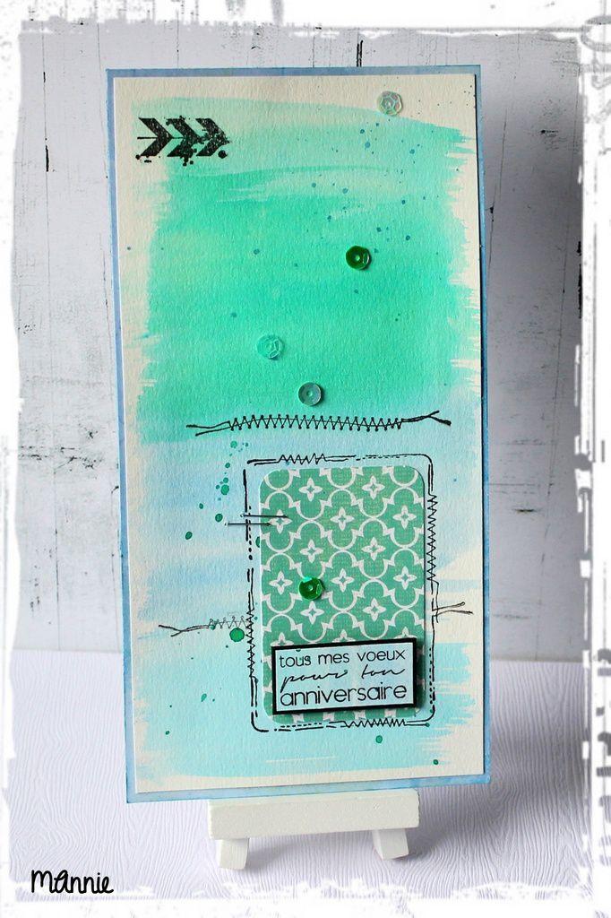 papiers aquarelle, BG, Infocréa &#x3B; brushos sea green, cobalt blue et ultra marine &#x3B; tampons  la Scraposphère, Simply Graphic &#x3B; sequins, carrés  mousse 3D